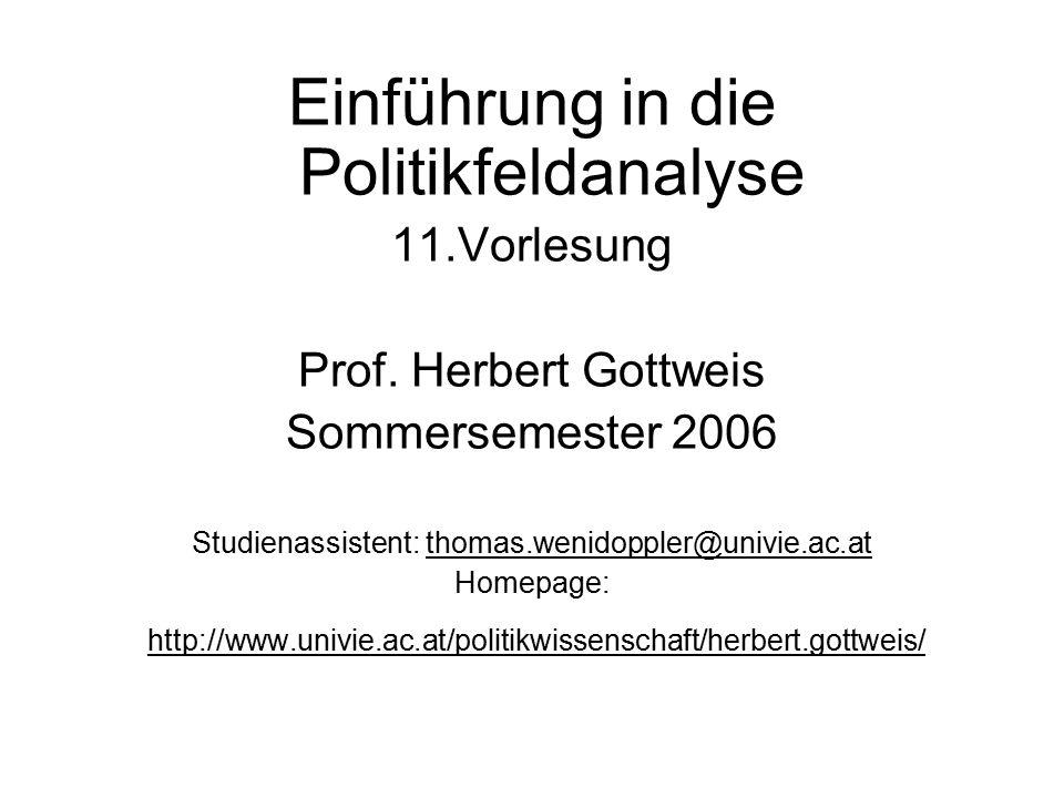 Einführung in die Politikfeldanalyse 11.Vorlesung Prof. Herbert Gottweis Sommersemester 2006 Studienassistent: thomas.wenidoppler@univie.ac.at Homepag