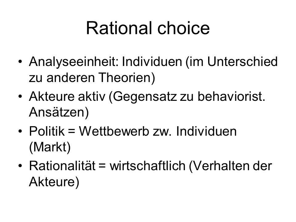 Rational choice Analyseeinheit: Individuen (im Unterschied zu anderen Theorien) Akteure aktiv (Gegensatz zu behaviorist. Ansätzen) Politik = Wettbewer