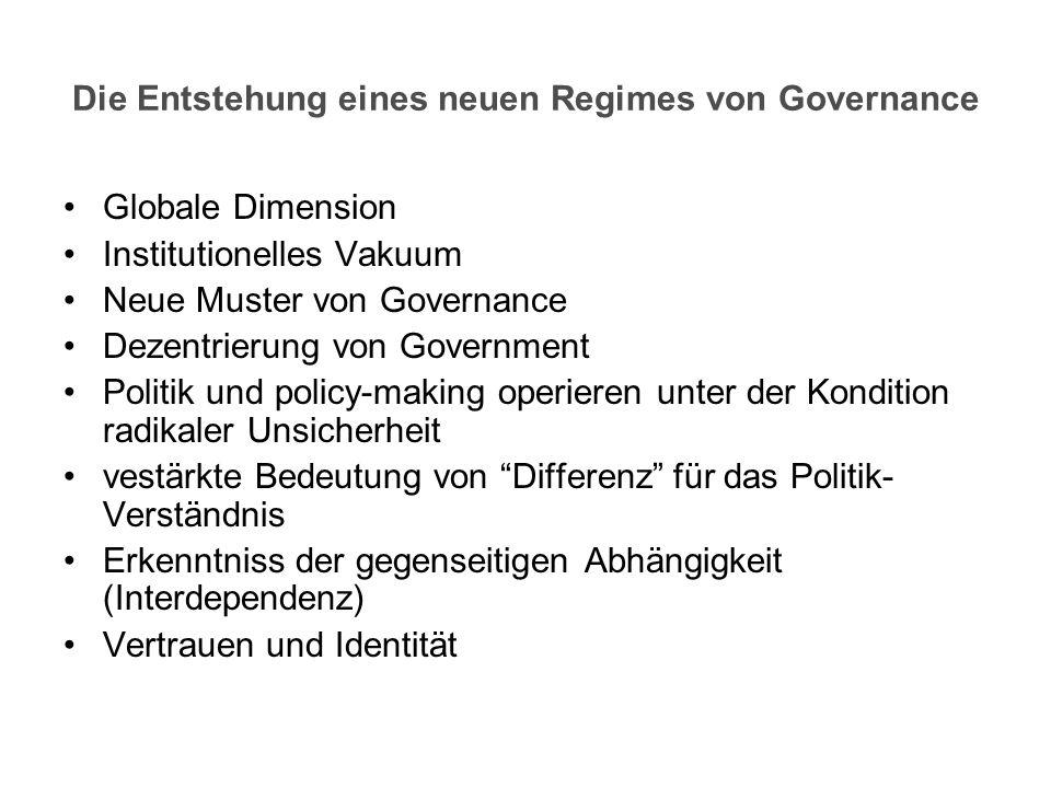 Die Entstehung eines neuen Regimes von Governance Globale Dimension Institutionelles Vakuum Neue Muster von Governance Dezentrierung von Government Po