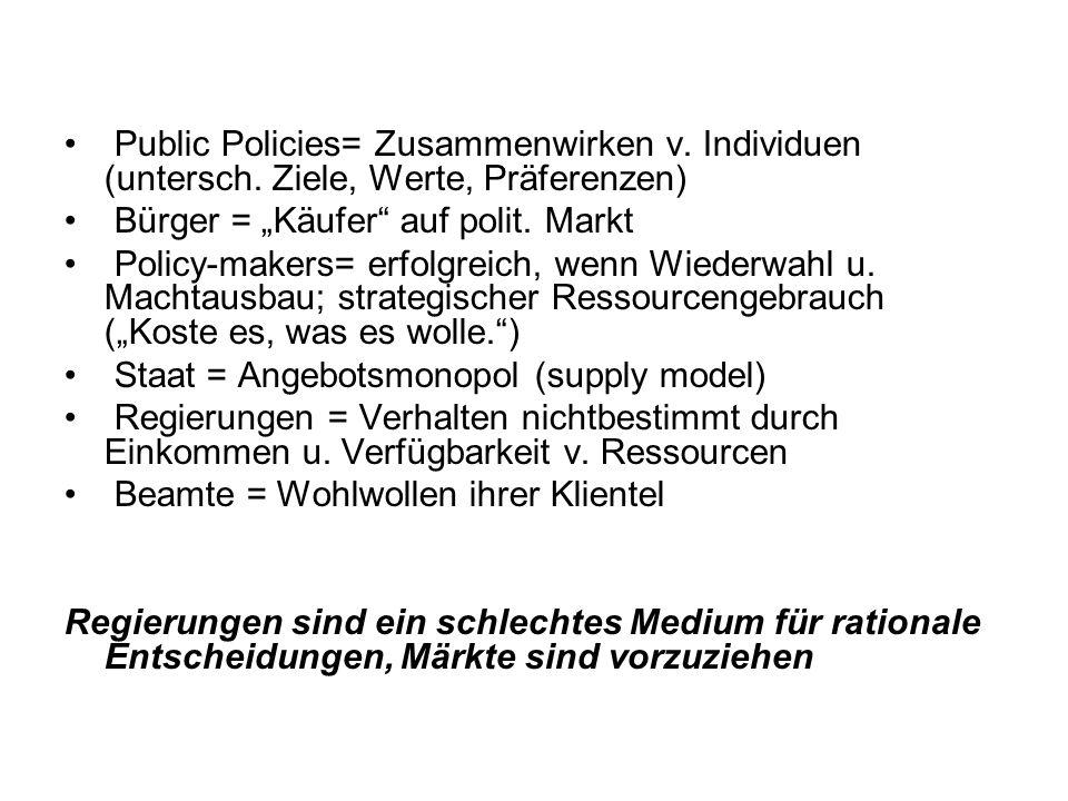 """Public Policies= Zusammenwirken v. Individuen (untersch. Ziele, Werte, Präferenzen) Bürger = """"Käufer"""" auf polit. Markt Policy-makers= erfolgreich, wen"""