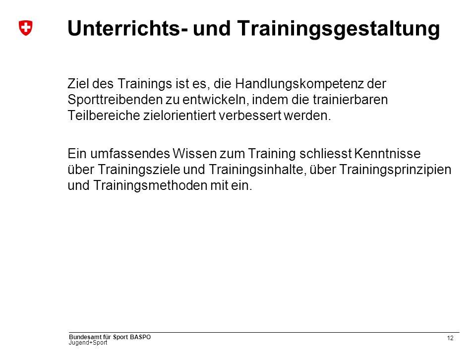 12 Bundesamt für Sport BASPO Jugend+Sport Unterrichts- und Trainingsgestaltung Ziel des Trainings ist es, die Handlungskompetenz der Sporttreibenden z