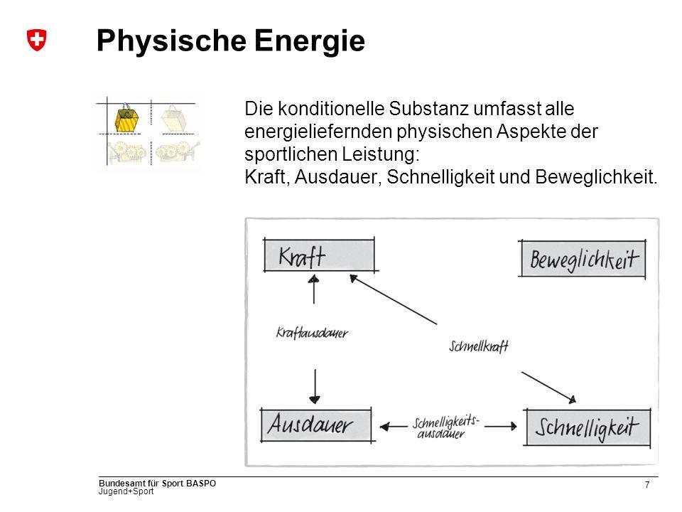 7 Bundesamt für Sport BASPO Jugend+Sport Physische Energie Die konditionelle Substanz umfasst alle energieliefernden physischen Aspekte der sportlichen Leistung: Kraft, Ausdauer, Schnelligkeit und Beweglichkeit.