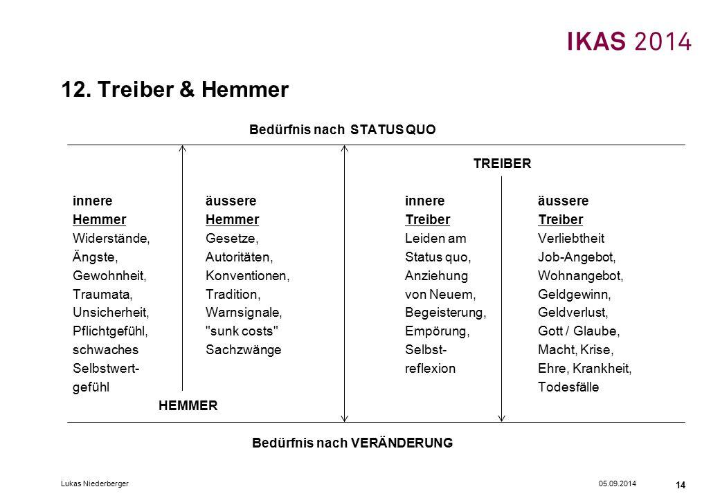 05.09.2014Lukas Niederberger 14 12. Treiber & Hemmer Bedürfnis nach STATUS QUO TREIBER innere äussere Hemmer Hemmer Treiber Treiber Widerstände, Geset