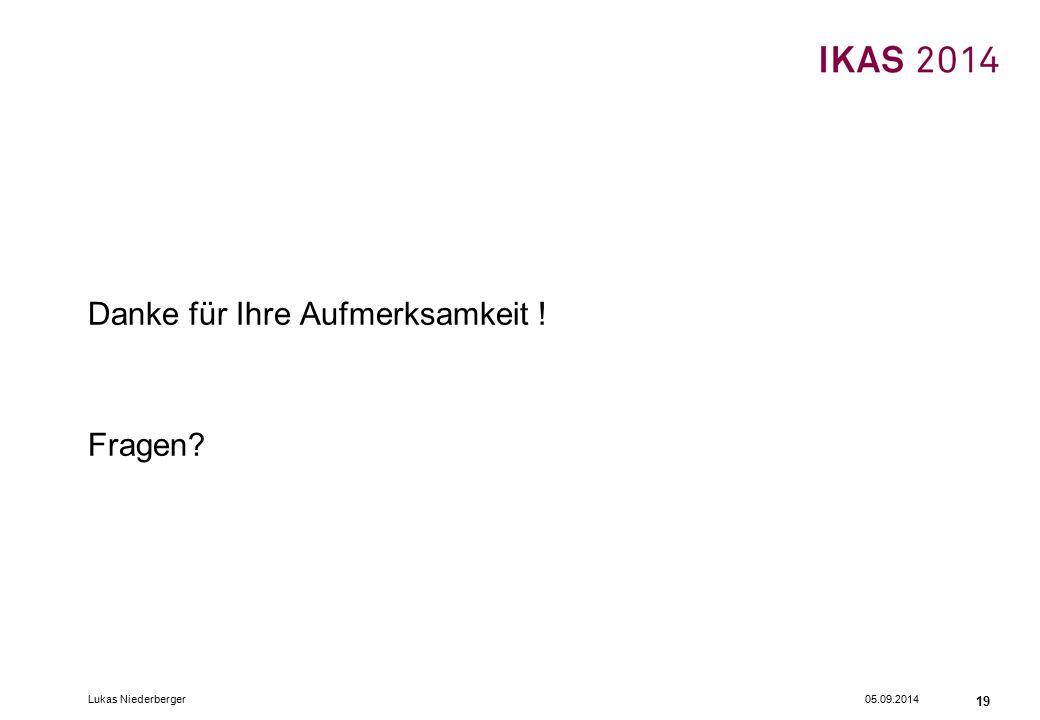 05.09.2014Lukas Niederberger 19 Danke für Ihre Aufmerksamkeit ! Fragen?