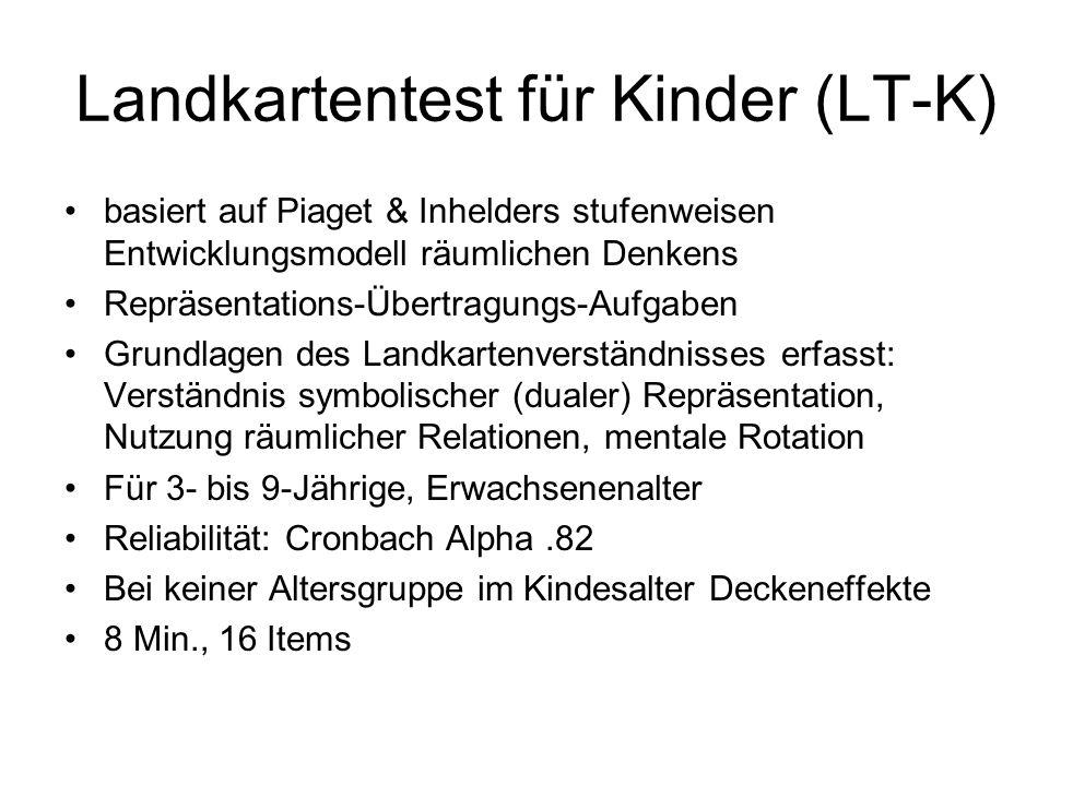 Landkartentest für Kinder (LT-K) basiert auf Piaget & Inhelders stufenweisen Entwicklungsmodell räumlichen Denkens Repräsentations-Übertragungs-Aufgab
