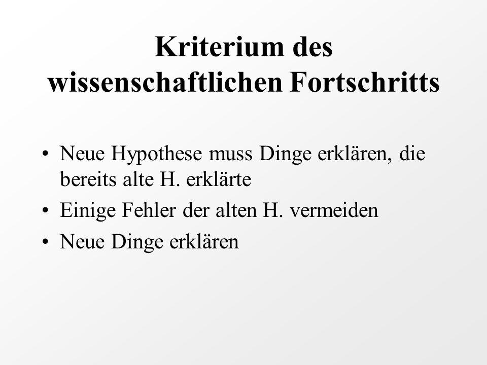 Kriterium des wissenschaftlichen Fortschritts Neue Hypothese muss Dinge erklären, die bereits alte H.