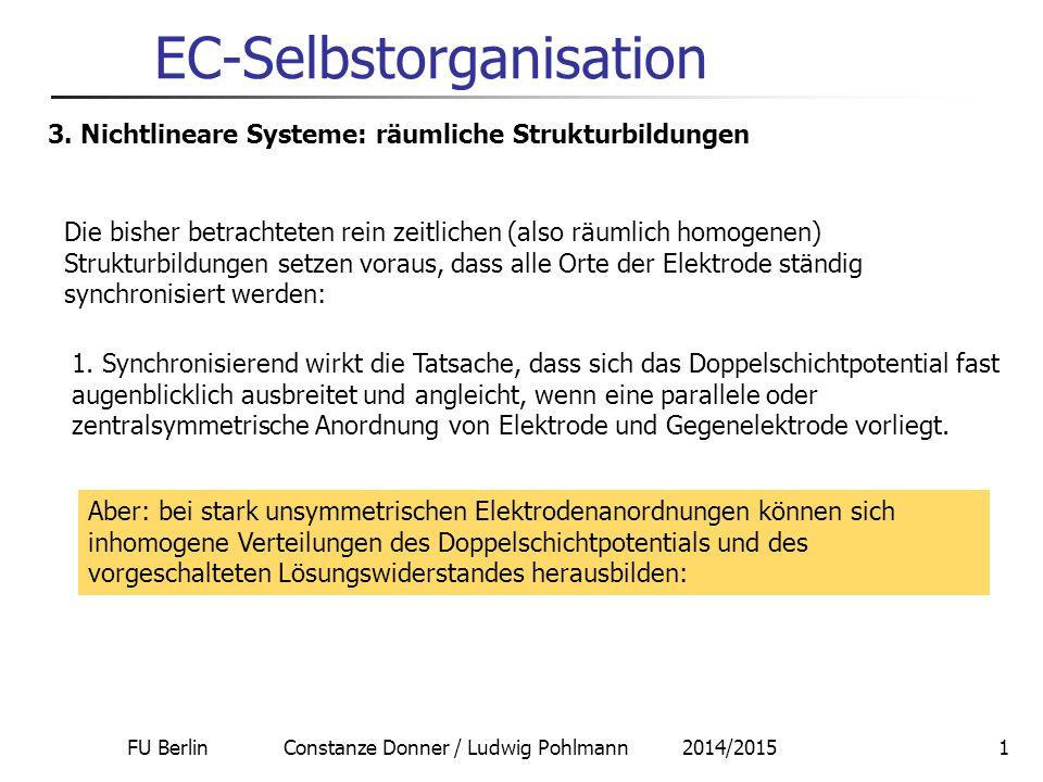 FU Berlin Constanze Donner / Ludwig Pohlmann 2014/20151 EC-Selbstorganisation 3. Nichtlineare Systeme: räumliche Strukturbildungen Die bisher betracht