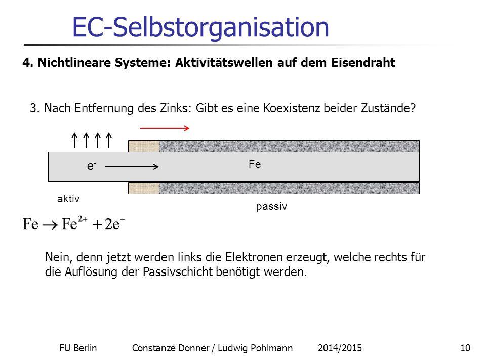 FU Berlin Constanze Donner / Ludwig Pohlmann 2014/201510 EC-Selbstorganisation 4. Nichtlineare Systeme: Aktivitätswellen auf dem Eisendraht Nein, denn