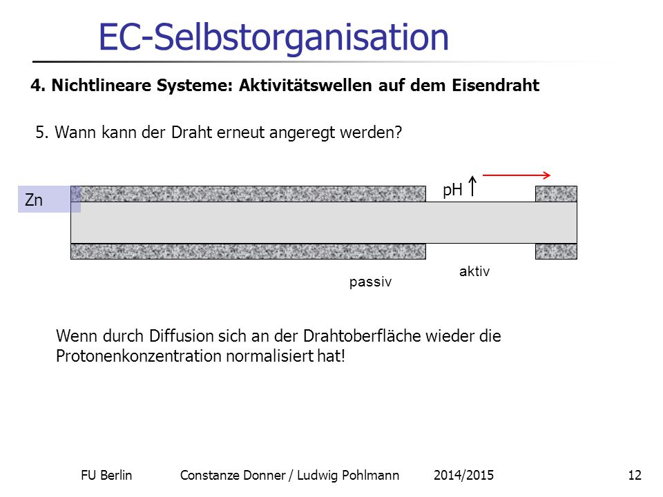 FU Berlin Constanze Donner / Ludwig Pohlmann 2014/201512 EC-Selbstorganisation 4. Nichtlineare Systeme: Aktivitätswellen auf dem Eisendraht 5. Wann ka