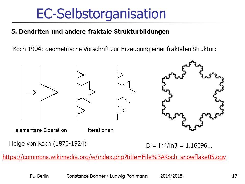 FU Berlin Constanze Donner / Ludwig Pohlmann 2014/201517 EC-Selbstorganisation 5. Dendriten und andere fraktale Strukturbildungen Koch 1904: geometris