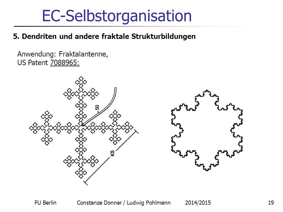 FU Berlin Constanze Donner / Ludwig Pohlmann 2014/201519 EC-Selbstorganisation 5. Dendriten und andere fraktale Strukturbildungen Anwendung: Fraktalan
