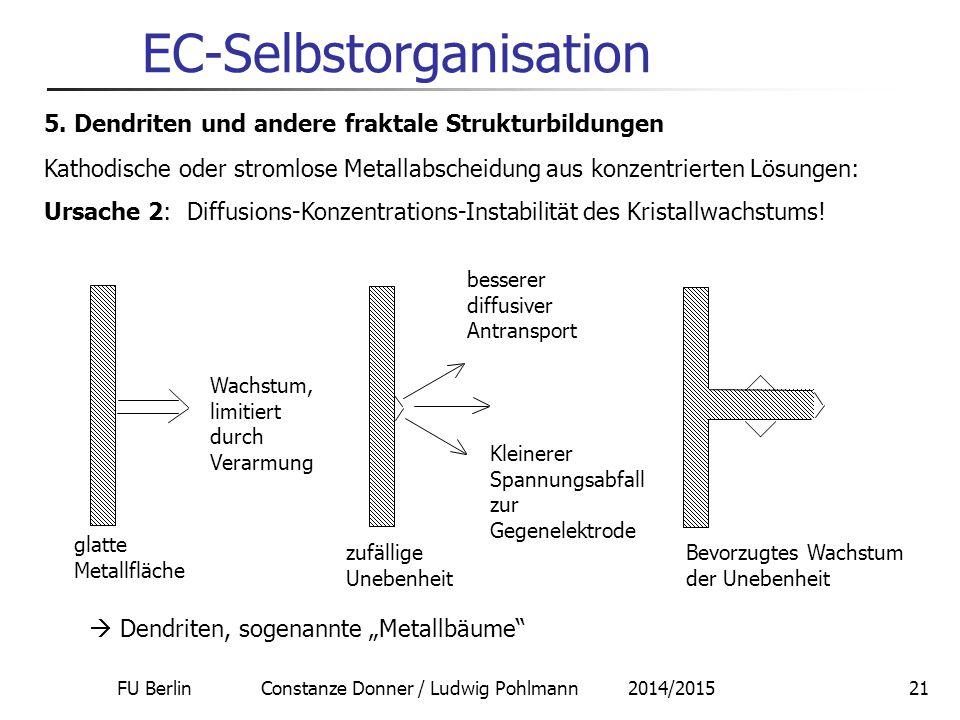 FU Berlin Constanze Donner / Ludwig Pohlmann 2014/201521 EC-Selbstorganisation 5. Dendriten und andere fraktale Strukturbildungen Kathodische oder str