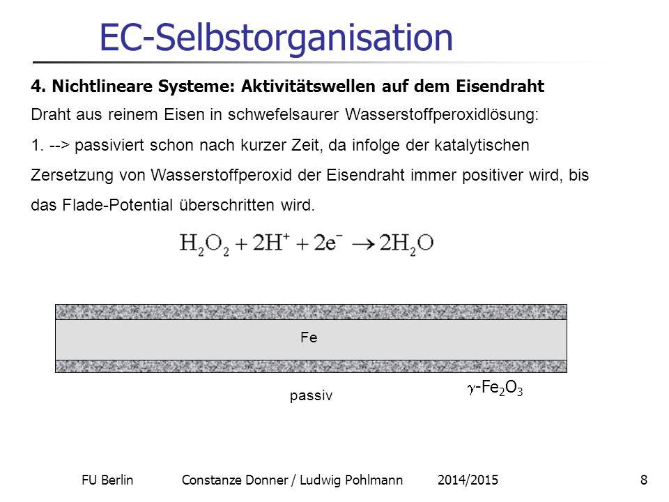 FU Berlin Constanze Donner / Ludwig Pohlmann 2014/20158 EC-Selbstorganisation 4. Nichtlineare Systeme: Aktivitätswellen auf dem Eisendraht Draht aus r