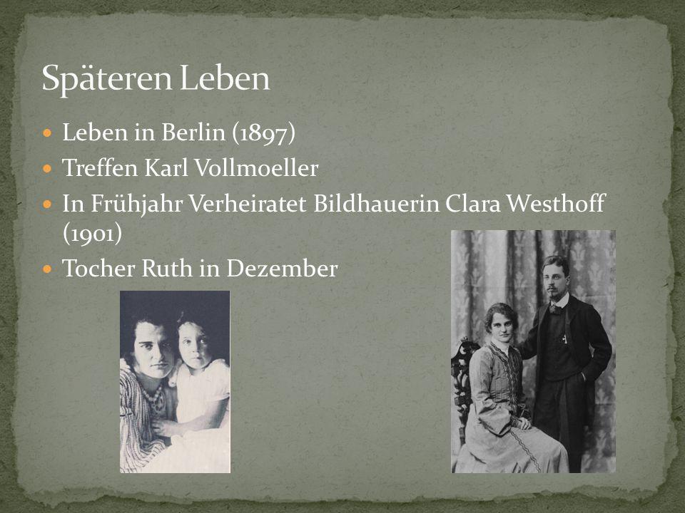 """""""Das Studen-Buch (1905) """"Neuen Gedichte (1907) """"Der neuen Gedichte anderer Teil (1908) Zwei """"Requiem Gedichte (1909) Duineser Elegien (Begann 1912, abgeschlossen 1922)"""