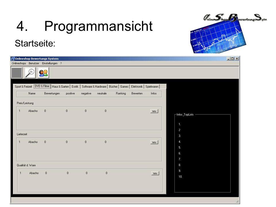 4.Programmansicht Startseite: