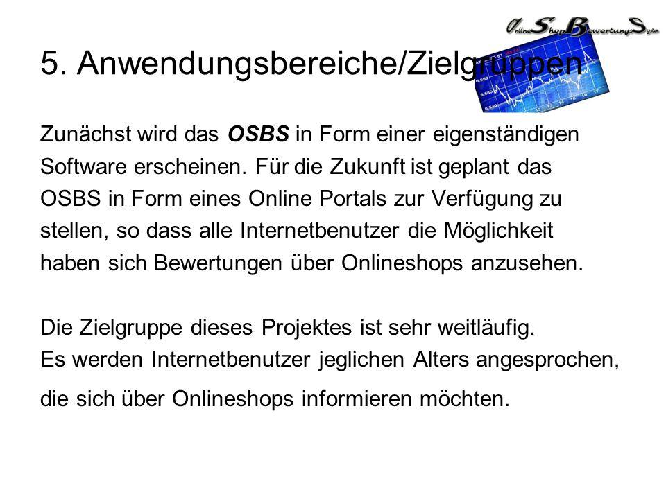 5. Anwendungsbereiche/Zielgruppen Zunächst wird das OSBS in Form einer eigenständigen Software erscheinen. Für die Zukunft ist geplant das OSBS in For