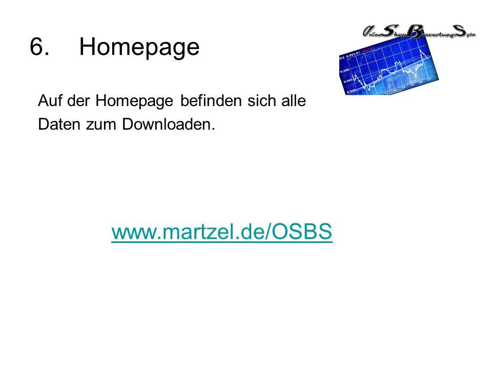 6.Homepage www.martzel.de/OSBS Auf der Homepage befinden sich alle Daten zum Downloaden.