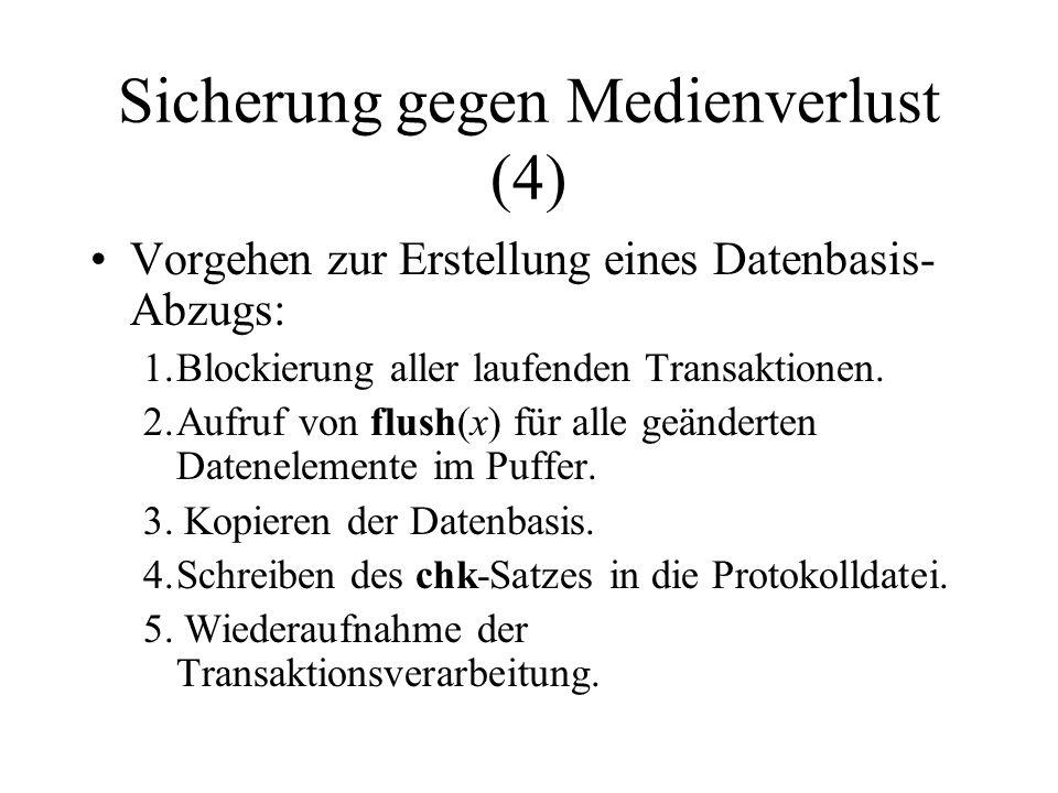 Sicherung gegen Medienverlust (4) Vorgehen zur Erstellung eines Datenbasis- Abzugs: 1.Blockierung aller laufenden Transaktionen.