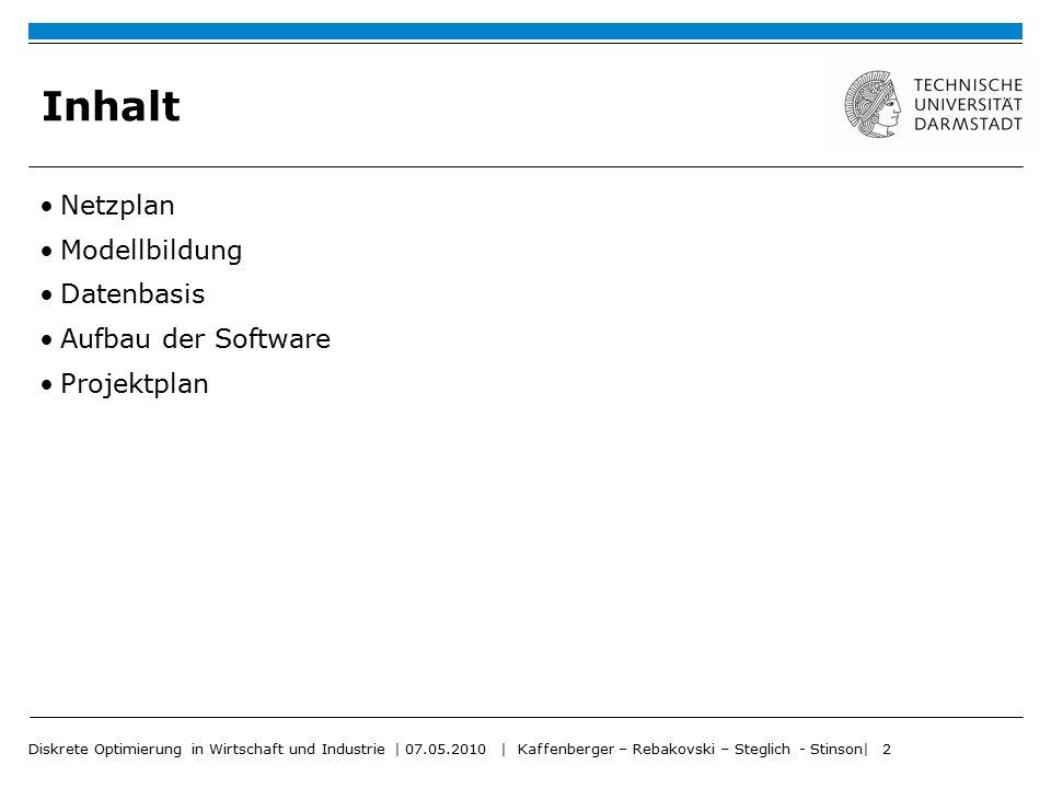 Diskrete Optimierung in Wirtschaft und Industrie   07.05.2010   Kaffenberger – Rebakovski – Steglich - Stinson  3 Inhalt Netzplan Modellbildung Datenbasis Aufbau der Software Projektplan