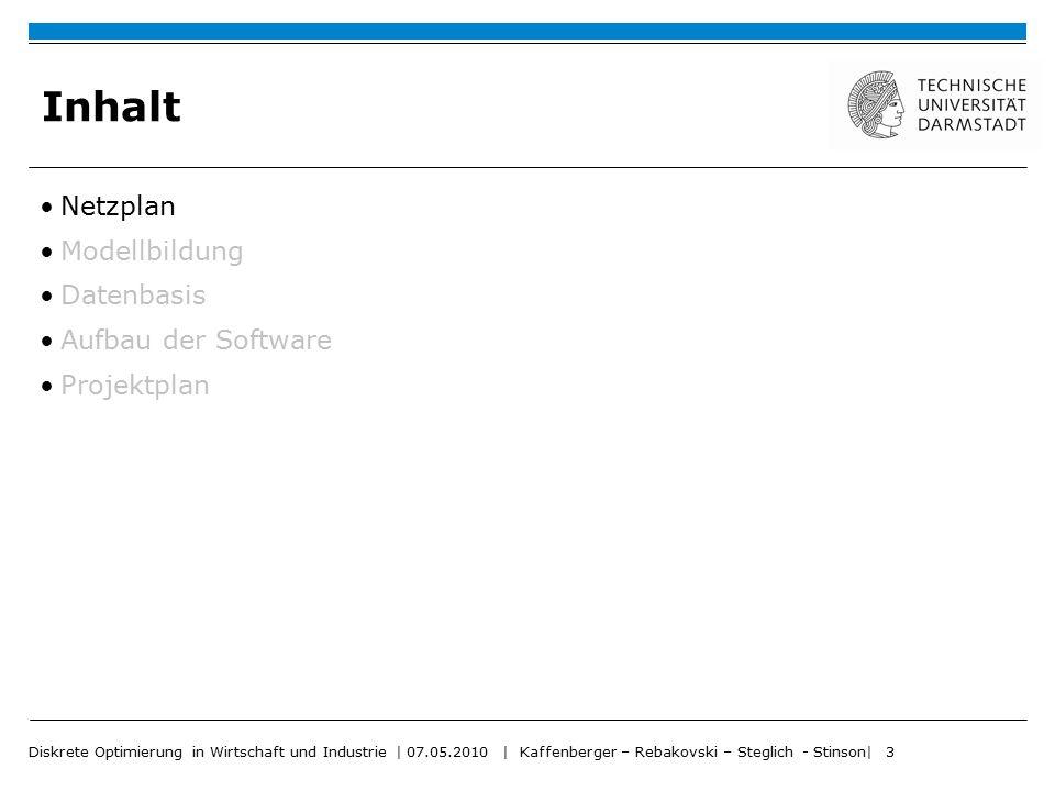 Diskrete Optimierung in Wirtschaft und Industrie | 07.05.2010 | Kaffenberger – Rebakovski – Steglich - Stinson| 3 Inhalt Netzplan Modellbildung Datenb