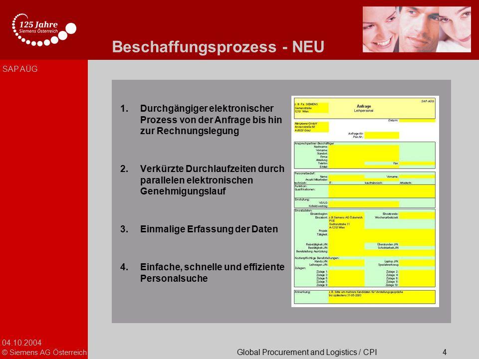 04.10.2004 © Siemens AG Österreich Global Procurement and Logistics / CPI SAP AÜG 4 Beschaffungsprozess - NEU 1.Durchgängiger elektronischer Prozess v
