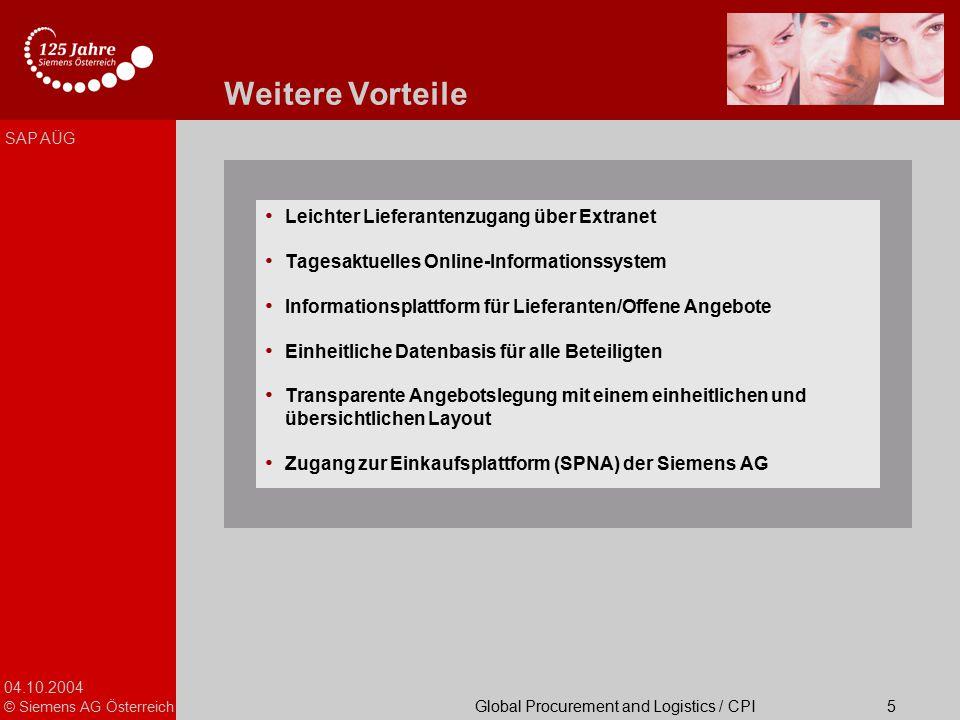 04.10.2004 © Siemens AG Österreich Global Procurement and Logistics / CPI SAP AÜG 5 Weitere Vorteile Leichter Lieferantenzugang über Extranet Tagesakt