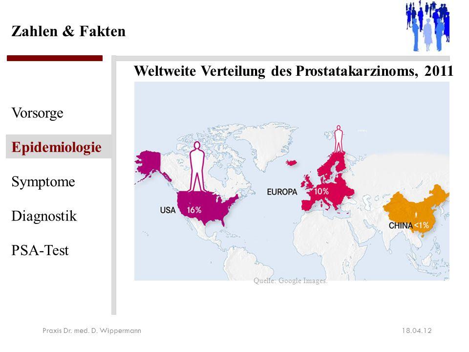 Zahlen & Fakten 18.04.12Praxis Dr. med. D. Wippermann Vorsorge Epidemiologie Symptome Diagnostik PSA-Test Weltweite Verteilung des Prostatakarzinoms,
