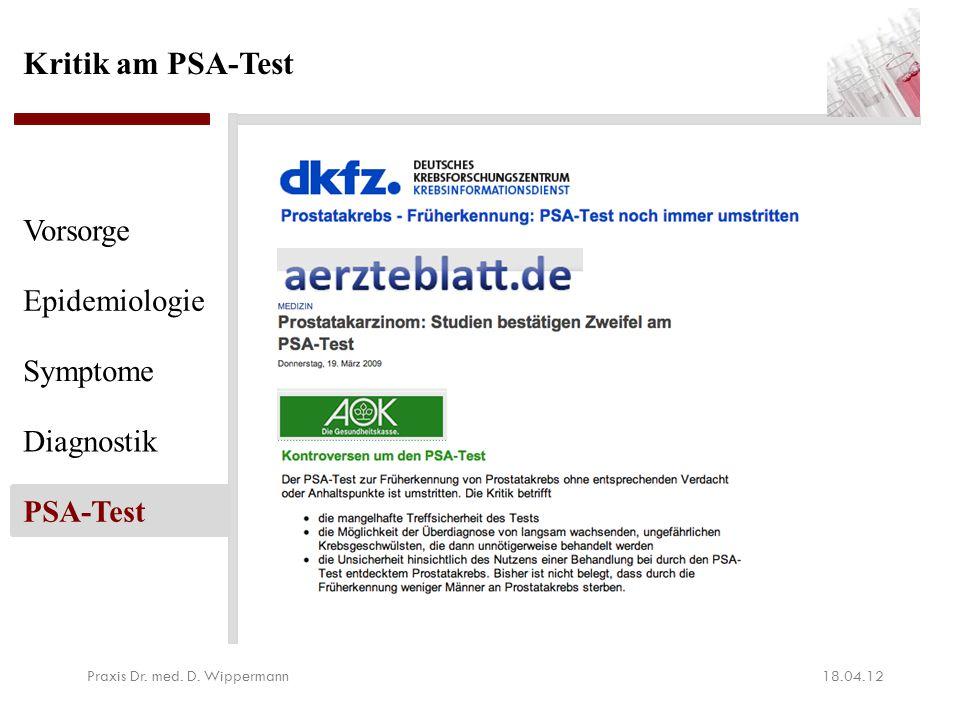 Kritik am PSA-Test 18.04.12Praxis Dr. med. D. Wippermann Vorsorge Epidemiologie Symptome Diagnostik PSA-Test