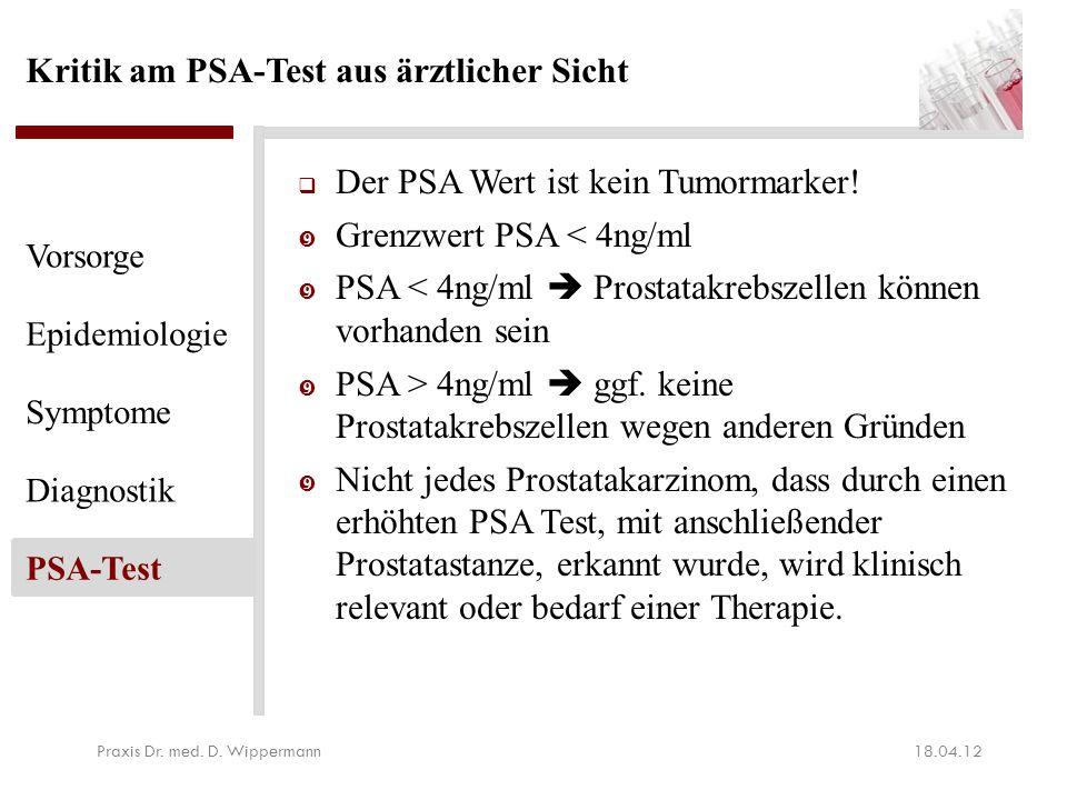 Kritik am PSA-Test aus ärztlicher Sicht  Der PSA Wert ist kein Tumormarker!  Grenzwert PSA < 4ng/ml  PSA < 4ng/ml  Prostatakrebszellen können vorh