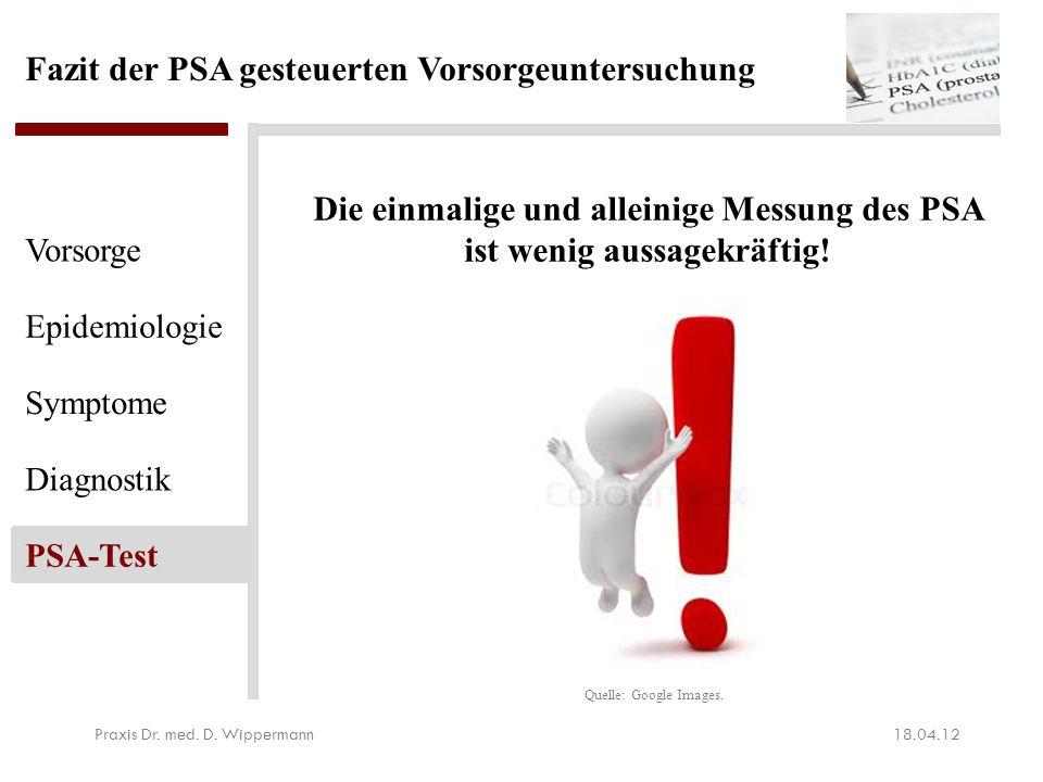 Fazit der PSA gesteuerten Vorsorgeuntersuchung Die einmalige und alleinige Messung des PSA ist wenig aussagekräftig! 18.04.12Praxis Dr. med. D. Wipper