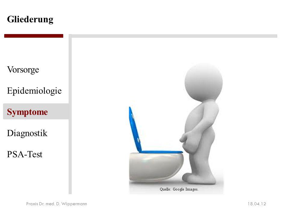 Gliederung 18.04.12Praxis Dr. med. D. Wippermann Vorsorge Epidemiologie Symptome Diagnostik PSA-Test Quelle: Google Images.