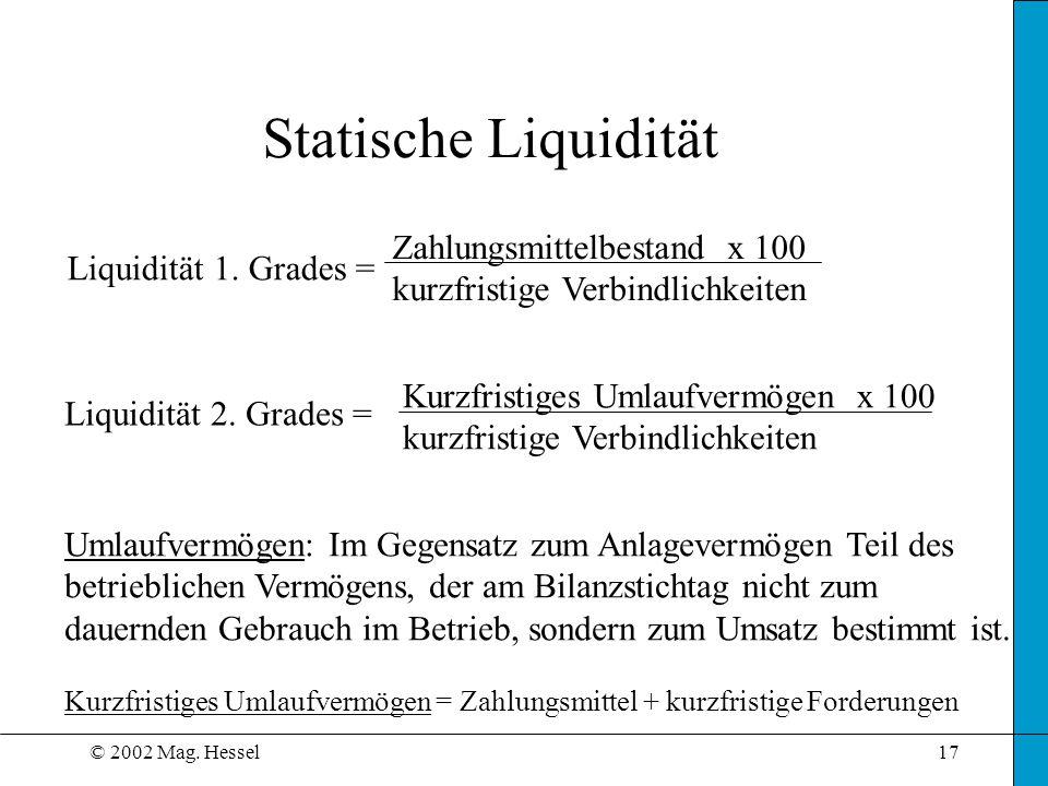 © 2002 Mag.Hessel17 Statische Liquidität Liquidität 1.