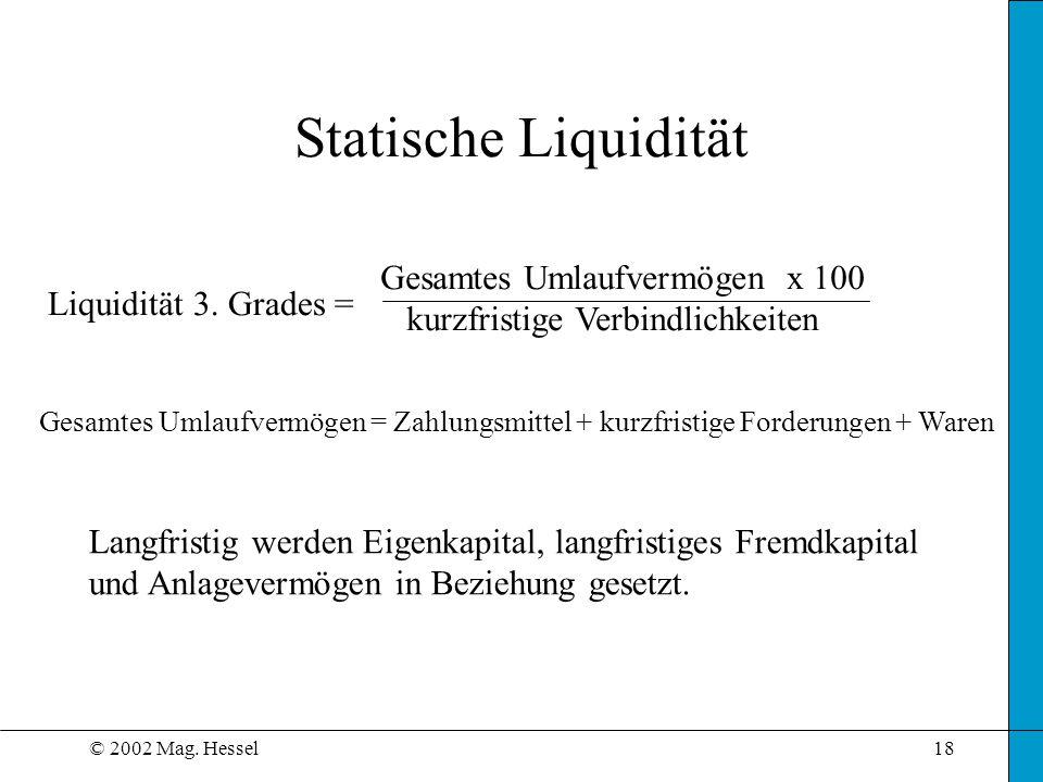 © 2002 Mag.Hessel18 Statische Liquidität Liquidität 3.