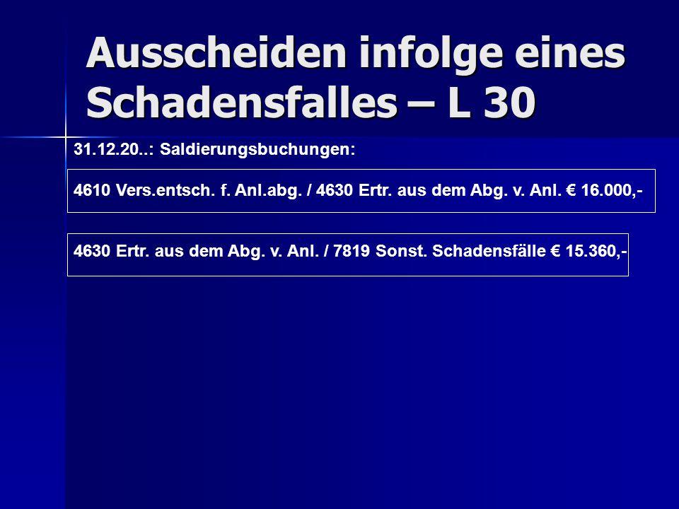 Ausscheiden infolge eines Schadensfalles – L 30 31.12.20..: Saldierungsbuchungen: 4610 Vers.entsch. f. Anl.abg. / 4630 Ertr. aus dem Abg. v. Anl. € 16