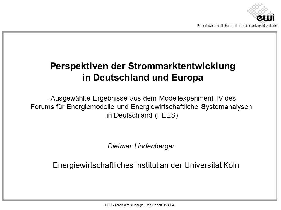 DPG - Arbeitskreis Energie, Bad Honeff, 15.4.04 Energiemodelle und Energiewirtschaftliche Systemanalysen Ziele: - Demonstration des Anwendungspotenzials von Energiemodellen - Schwerpunkt: Modellanwendung (nicht Entwicklung) - Vergleich der Ergebnisrelevanz versch.