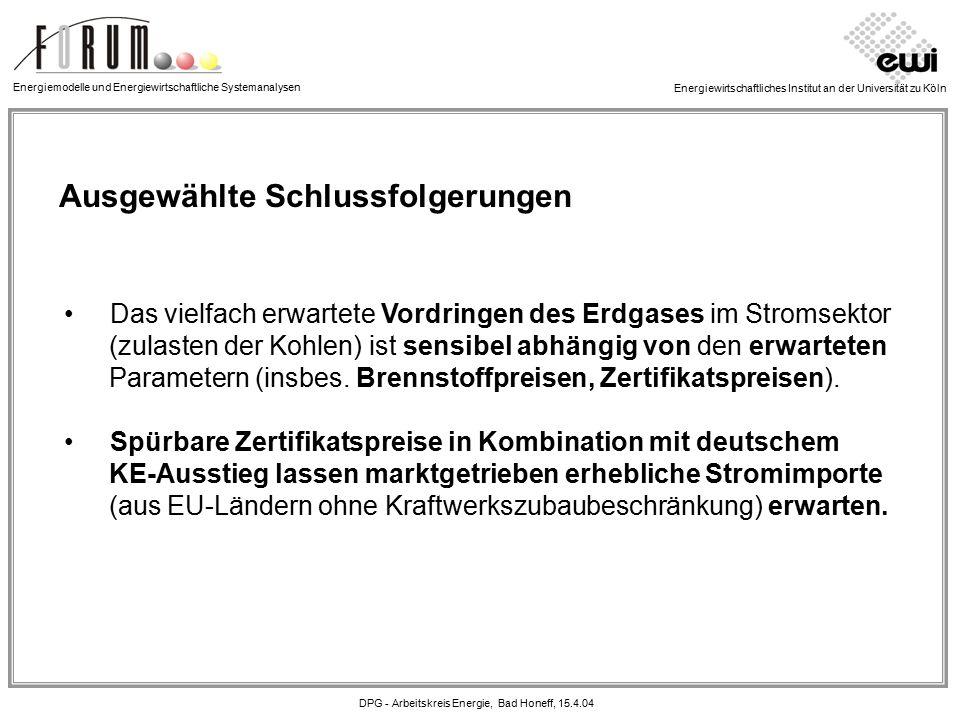 Energiewirtschaftliches Institut an der Universität zu Köln Ausgewählte Schlussfolgerungen Das vielfach erwartete Vordringen des Erdgases im Stromsektor (zulasten der Kohlen) ist sensibel abhängig von den erwarteten Parametern (insbes.