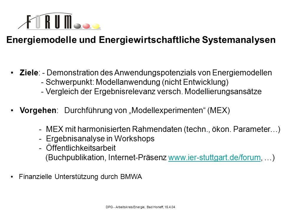 DPG - Arbeitskreis Energie, Bad Honeff, 15.4.04 MEX I: Strukturelle und gesamtwirtschaftliche Effekte des Klimaschutzes: Die nationale Perspektive (1998-1999) MEX II: Kernenergieausstieg: Effekte und Wirkungen eines sofortigen oder schrittweisen Verzichts auf Strom aus Kernkraftwerken in der Bundesrepublik Deutschland (1999-2000) MEX III: Umwelt- und Klimaschutz in liberalisierten Energiemärkten – Die Rolle Erneuerbarer Energieträger (2001-2002) MEX IV: Längerfristiger Beitrag der deutschen Energiewirtschaft zum europäischen Klimaschutz (2002-2004) MEX V: Innovation und moderne Energietechnik (seit April 2004) Bisherige Modellexperimente Energiemodelle und Energiewirtschaftliche Systemanalysen Energiewirtschaftliches Institut an der Universität zu Köln