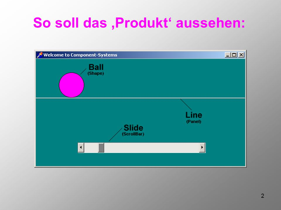 3 Zwei Komponenten arbeiten zusammen: AKTION? Ball.Left = Slide.Value WANN? ValueChanged (of Slide)
