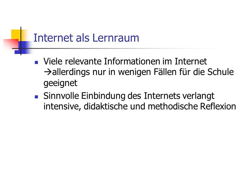 Internet als Lernraum Viele relevante Informationen im Internet  allerdings nur in wenigen Fällen für die Schule geeignet Sinnvolle Einbindung des Internets verlangt intensive, didaktische und methodische Reflexion