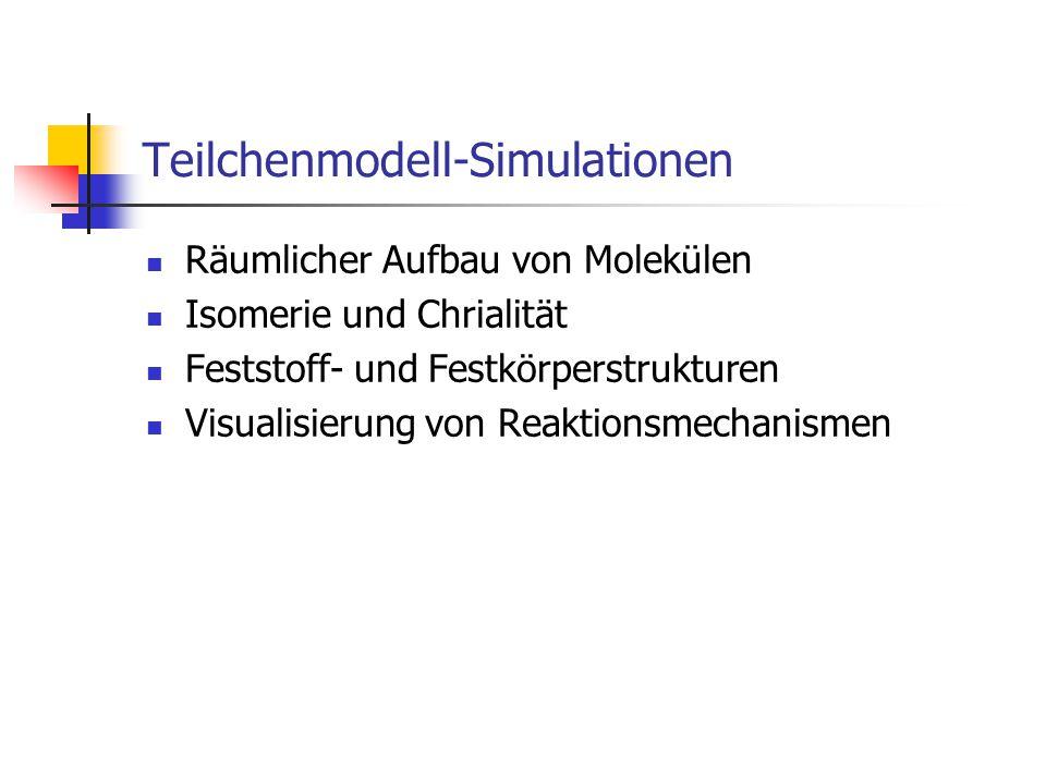 Teilchenmodell-Simulationen Räumlicher Aufbau von Molekülen Isomerie und Chrialität Feststoff- und Festkörperstrukturen Visualisierung von Reaktionsmechanismen