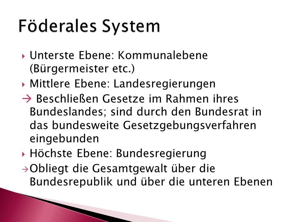  Unterste Ebene: Kommunalebene (Bürgermeister etc.)  Mittlere Ebene: Landesregierungen  Beschließen Gesetze im Rahmen ihres Bundeslandes; sind durc