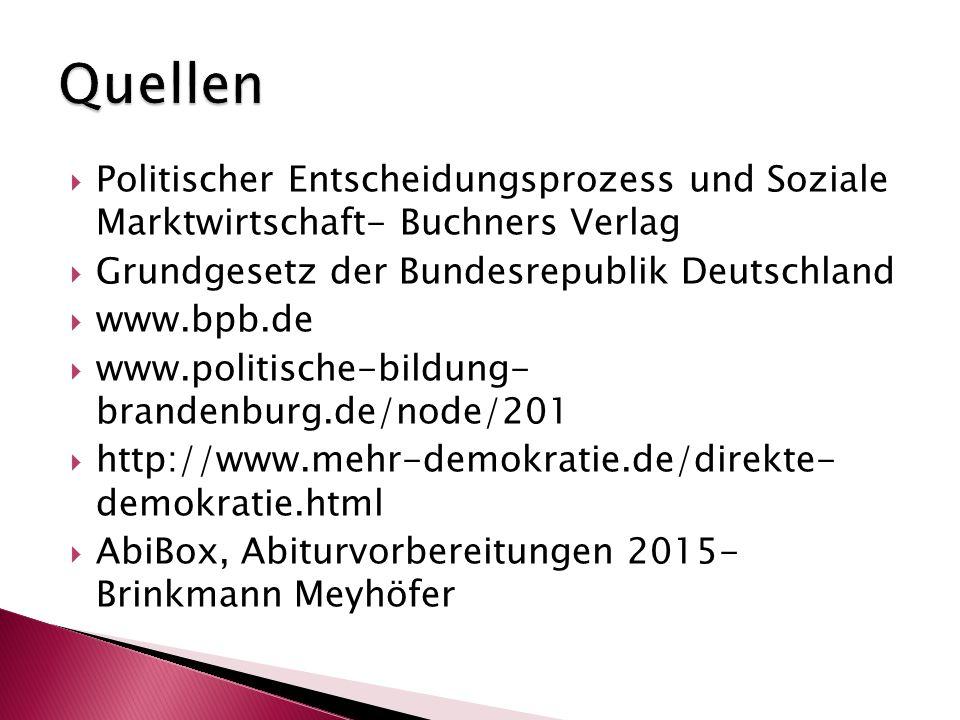  Politischer Entscheidungsprozess und Soziale Marktwirtschaft- Buchners Verlag  Grundgesetz der Bundesrepublik Deutschland  www.bpb.de  www.politi