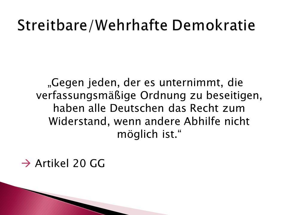 """""""Gegen jeden, der es unternimmt, die verfassungsmäßige Ordnung zu beseitigen, haben alle Deutschen das Recht zum Widerstand, wenn andere Abhilfe nicht"""