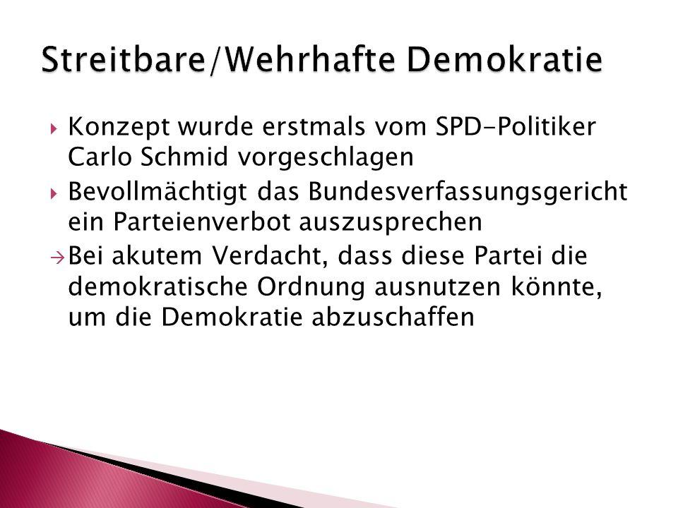  Konzept wurde erstmals vom SPD-Politiker Carlo Schmid vorgeschlagen  Bevollmächtigt das Bundesverfassungsgericht ein Parteienverbot auszusprechen 
