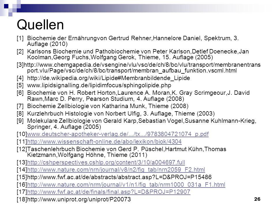 26 Quellen [1]Biochemie der Ernährungvon Gertrud Rehner,Hannelore Daniel, Spektrum, 3. Auflage (2010) [2]Karlsons Biochemie und Pathobiochemie von Pet