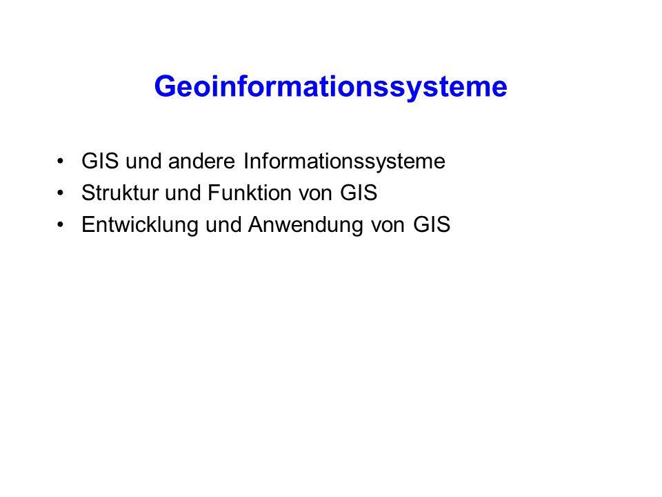 Geoinformationssysteme GIS und andere Informationssysteme Struktur und Funktion von GIS Entwicklung und Anwendung von GIS