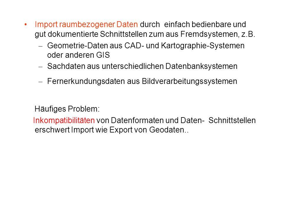 Import raumbezogener Daten durch einfach bedienbare und gut dokumentierte Schnittstellen zum aus Fremdsystemen, z.B.  Geometrie-Daten aus CAD- und Ka