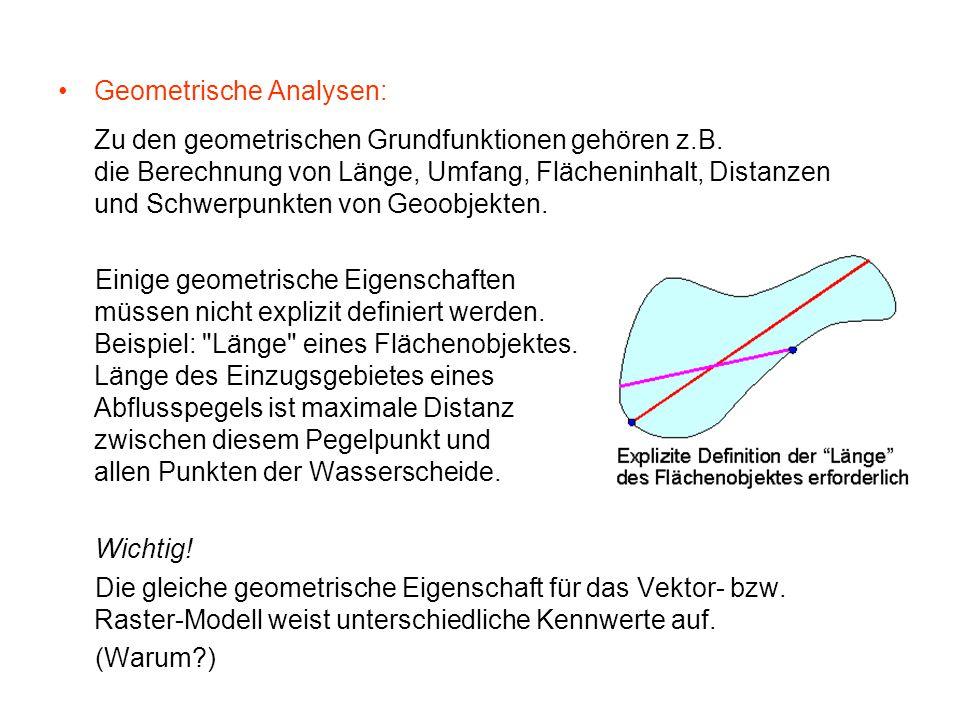 Geometrische Analysen: Zu den geometrischen Grundfunktionen gehören z.B. die Berechnung von Länge, Umfang, Flächeninhalt, Distanzen und Schwerpunkten