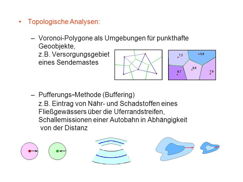 Topologische Analysen: –Voronoi-Polygone als Umgebungen für punkthafte Geoobjekte, z.B. Versorgungsgebiet eines Sendemastes –Pufferungs - Methode (Buf