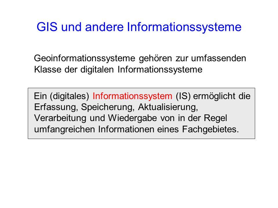 GIS und andere Informationssysteme Geoinformationssysteme gehören zur umfassenden Klasse der digitalen Informationssysteme Ein (digitales) Information